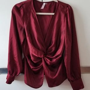 Love Culture Tops - Burgundy Satin Ruched Blouse